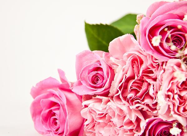 Beautiful bouquet with pink roses - isolated over white-1