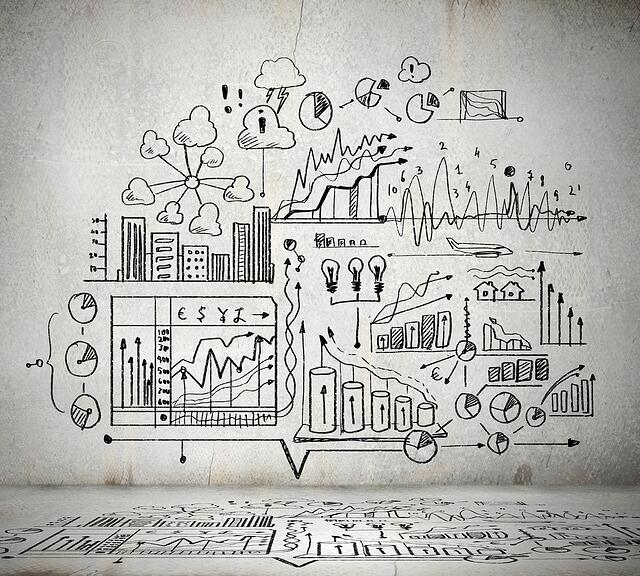 Business ideas sketch drawn on light wall