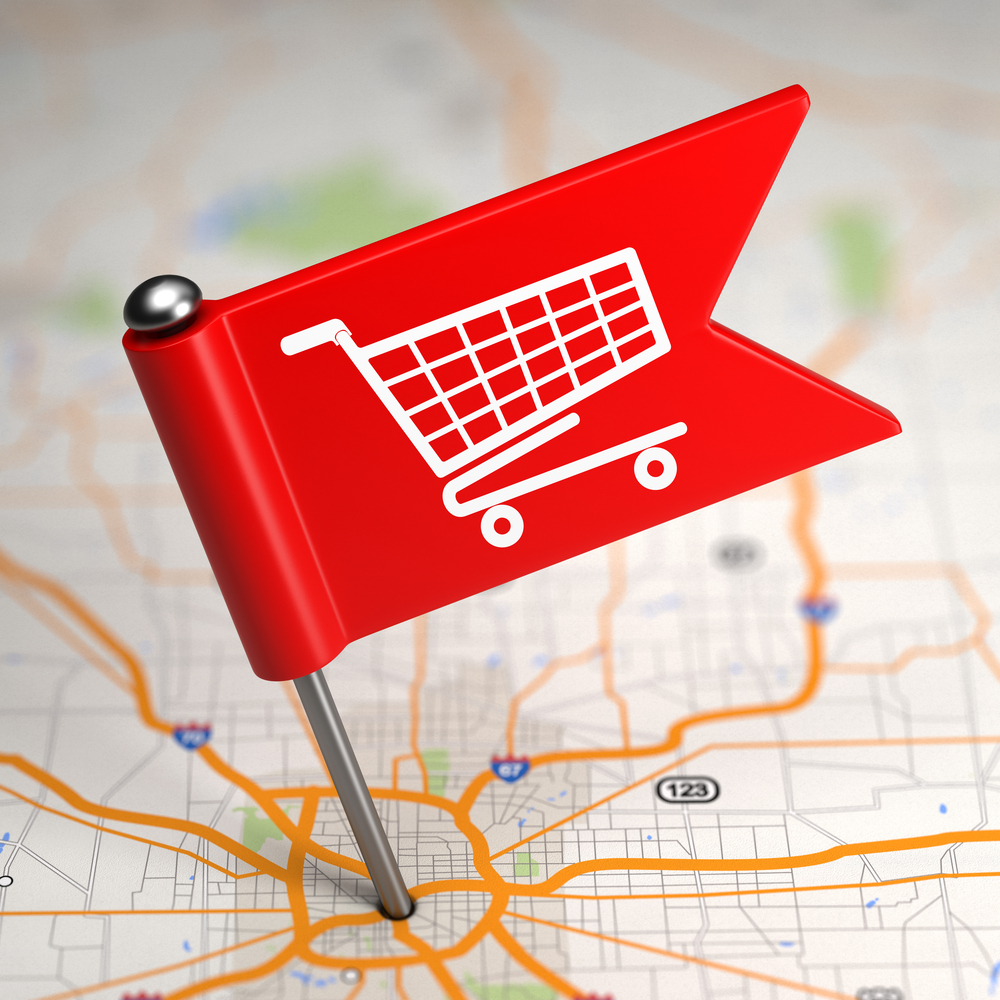 Shopping Concept - Small Flag on a Map Background with Selective Focus.-1