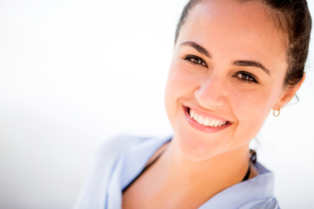 Casual woman portrait smiling and looking very happy