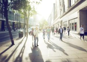 people in bokeh, street of London-1