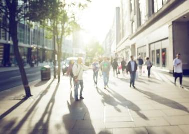 people in bokeh, street of London-2
