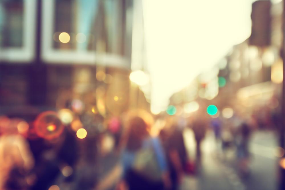 people in bokeh, street of London-3